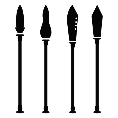 Set of spear icons in black and white