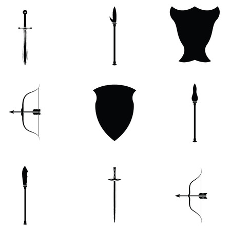 Set of ancient weapon icons in black and white