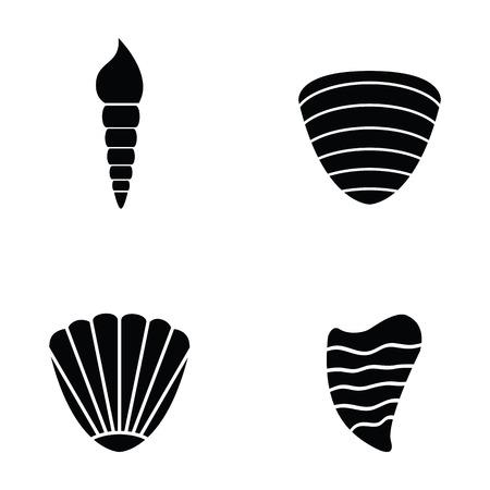 almeja: Conjunto de iconos de shell en blanco y negro