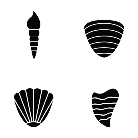 Set of shell icons in black and white Illustration