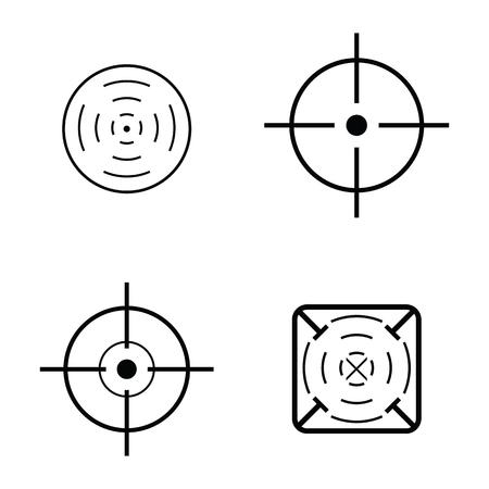 Crosshair icon, target set Illustration