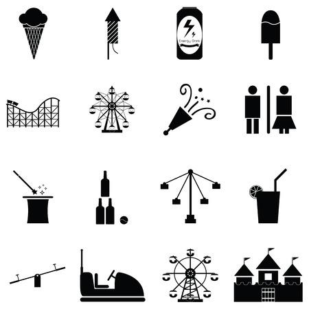 Amusement park icon set. Illustration