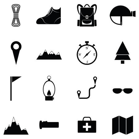 Trecking y camping conjunto de iconos.