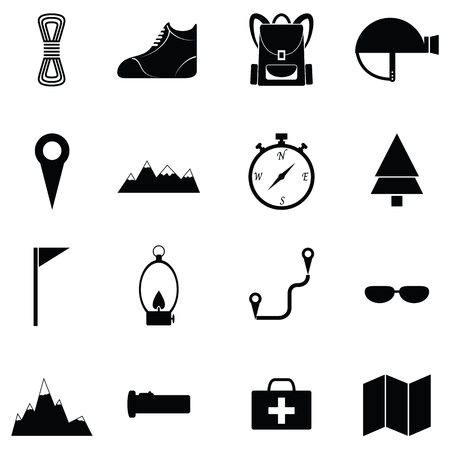 Trecking and camping icon set.