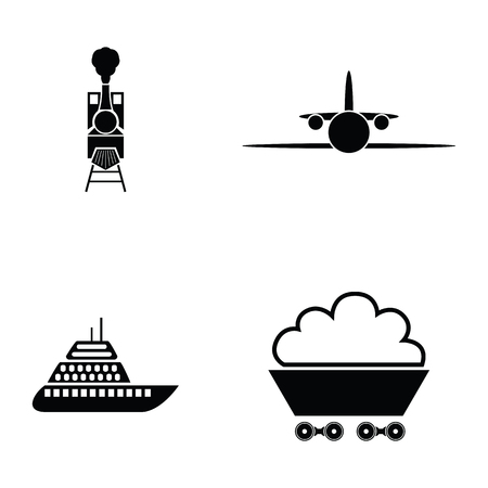 Collection of transport icon set includes airplane, ship, train and wagon in black and white collection illustration