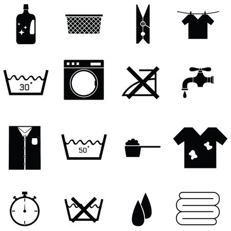 ランドリー アイコン セットのコレクションには、掛けられた布で洗剤、ランドリー バスケット、多くより多くの黒と白のイラストが含まれていま