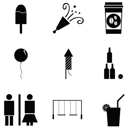 Collection of amusement icon set includes ice cream, balloon, rest room, games in black and white illustration.