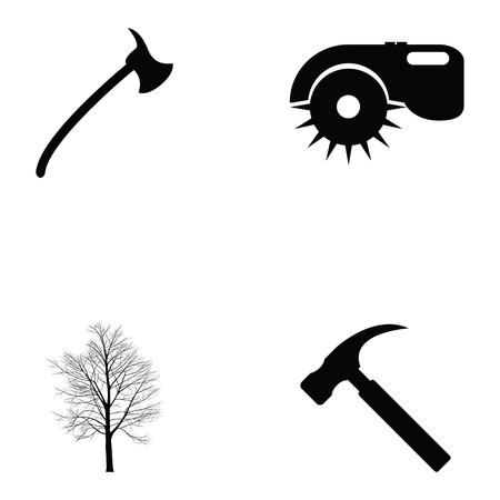 Carpenter icon set. Illustration
