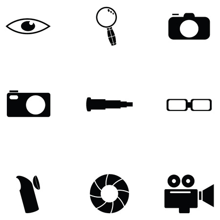 Optical icon set Vectores