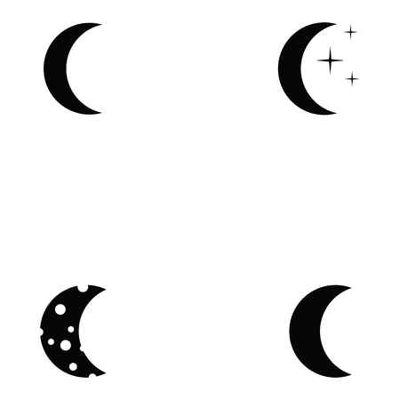 Moon Icon Set Different Crescent Moon Designs Royalty Free Cliparts