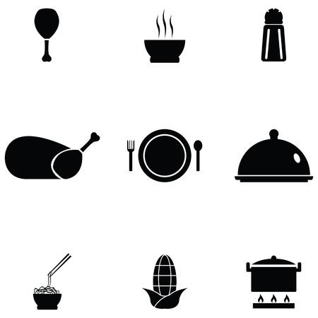 Chinese food icon set on white background vector illustration.