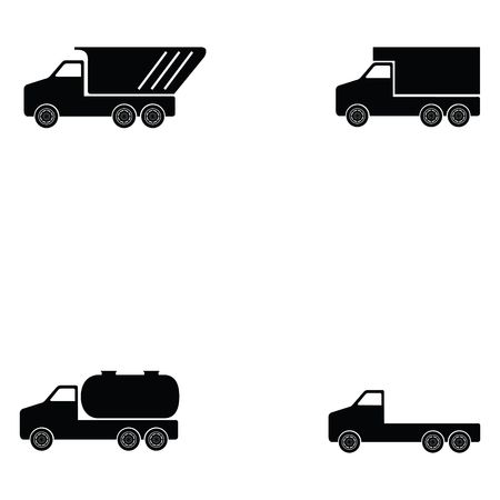 Truck icon set on white background vector illustration.