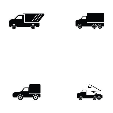 Truck icon set on white backgroun vector illustration.