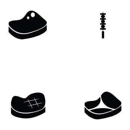 Pork icon set Illustration