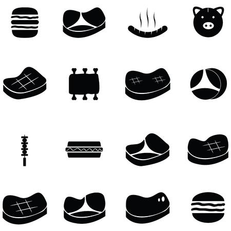 Varkensvlees pictogrammenset illustratie.