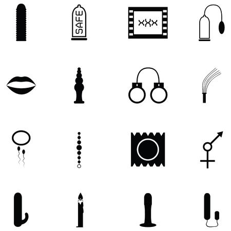 검은 실루엣 디자인에 설정된 섹스 토이 아이콘의 다양한 그림
