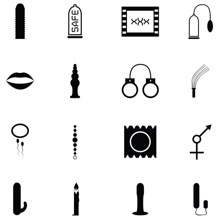 Various illustration of sex toy icon set on black silhouette design Ilustração