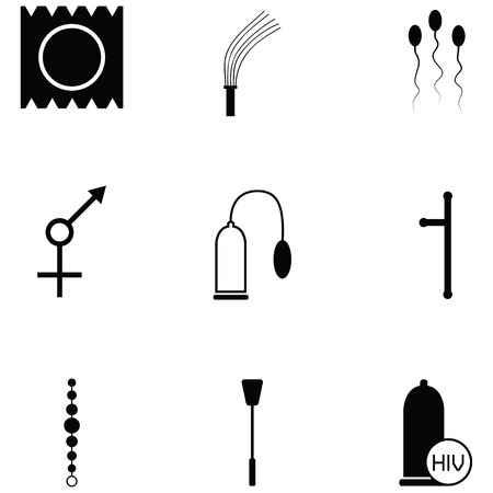 Various illustration of sex toy icon set on black silhouette design Ilustracja