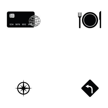 A tourism icon set in black silhouette design on white background