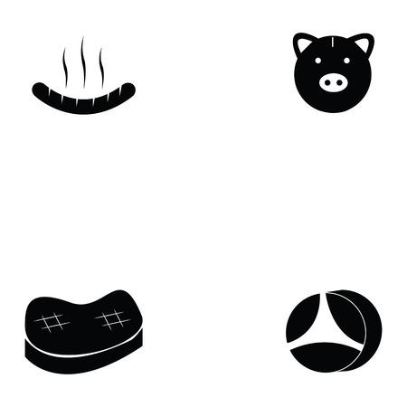 黒いシルエットデザインに設定された豚アイコンの様々なイラスト  イラスト・ベクター素材