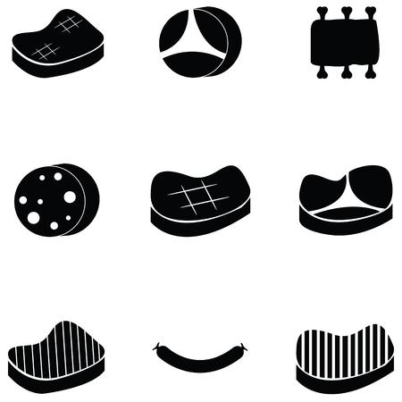 varkensvlees icon set
