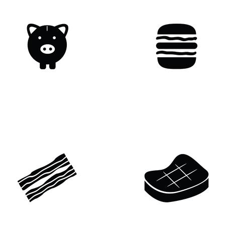 ●豚アイコンセットイラスト。
