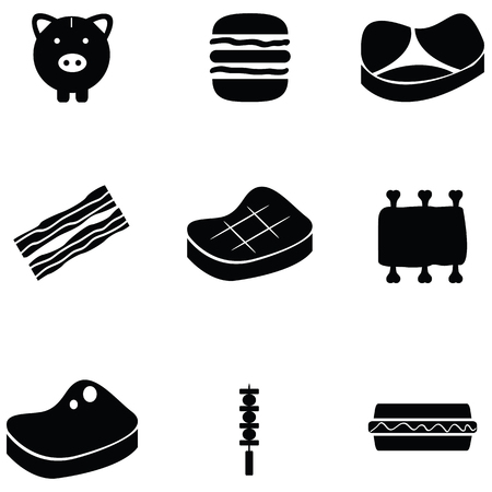 Pork icon set illustration.