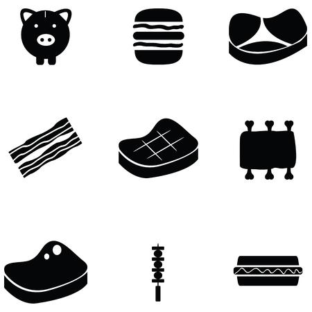 Pork icon set illustration.