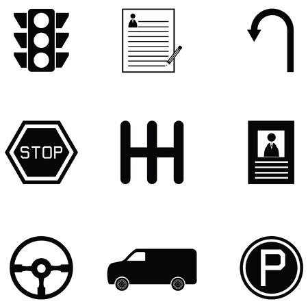 driving school icon set Illustration