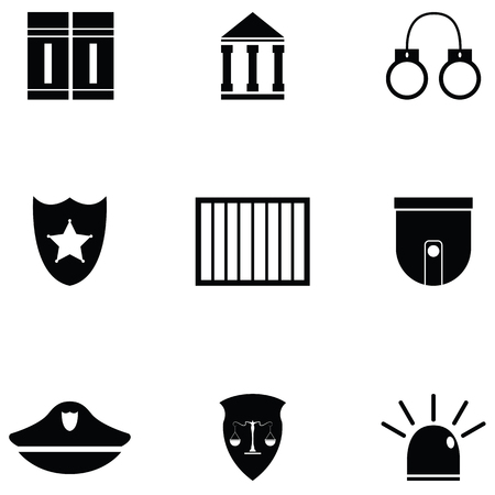 Collection law icon set Ilustrace
