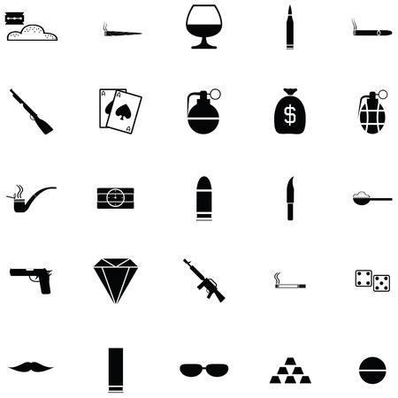 Simple gangster icon set Stock Illustratie