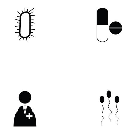 Pathogen icon set with pills, doctor and pathogen