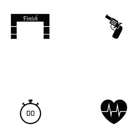 Running icon set with cardiogram and finish line