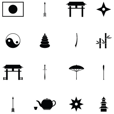 Ninja icon set with Japan flag , tea and shuriken