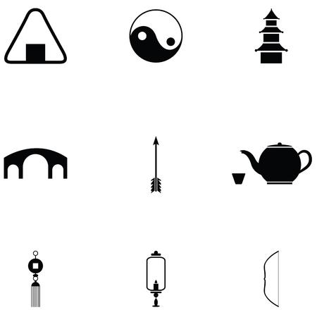 Ninja icon set with tea and yin yang  イラスト・ベクター素材
