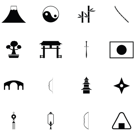 Ninja icon set, with shuriken, bamboo leaves  イラスト・ベクター素材