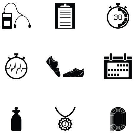 Running icon set with shoes, calendar, audio player