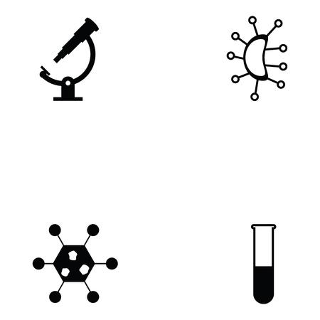Pathogen icon set with test tube Illustration