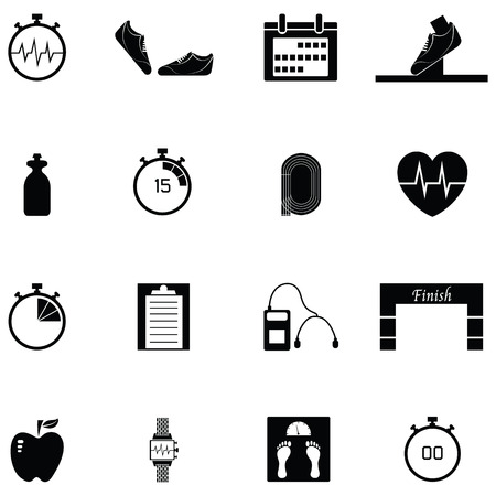 Running icon set with clock, weighing scale and running shoes