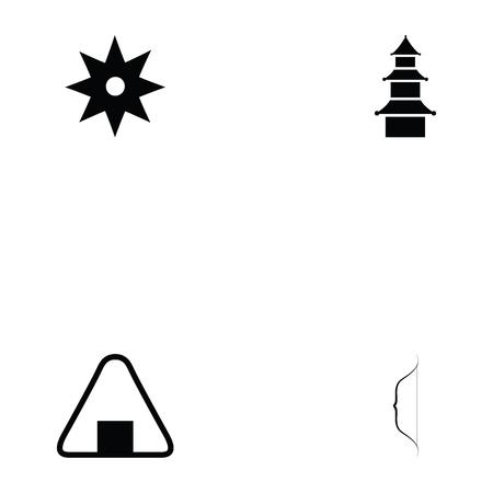 Ninja icon set with shuriken and ninja tower  イラスト・ベクター素材