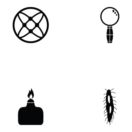Pathogen icon set with fuel, magnifying glass