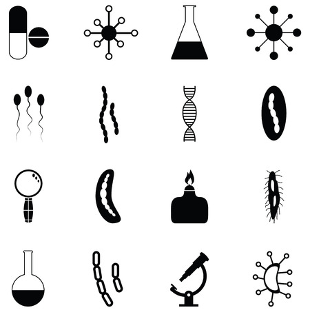 Pathogen icon set with lab, test tube and microscope