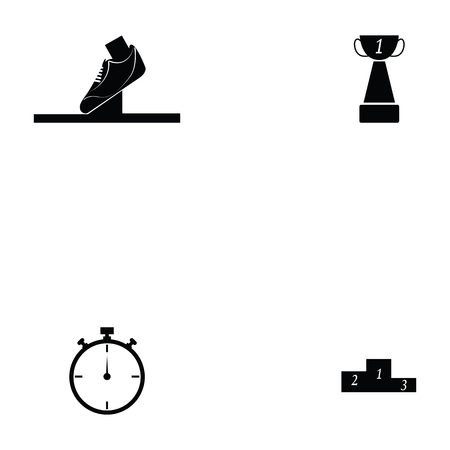 Running icon set with shoes, clock and trophy