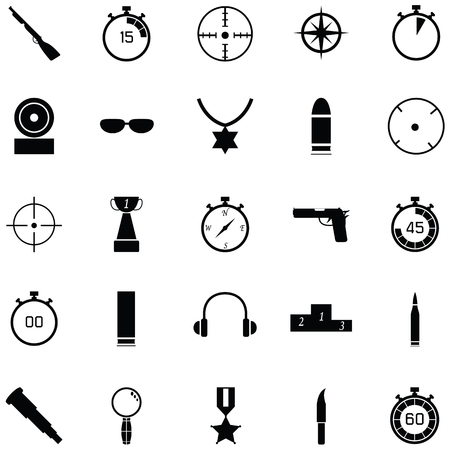 Clay shooting icon set Stock Illustratie