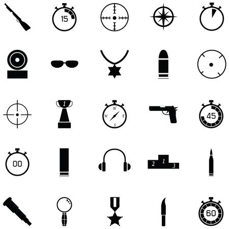 Clay shooting icon set Illustration