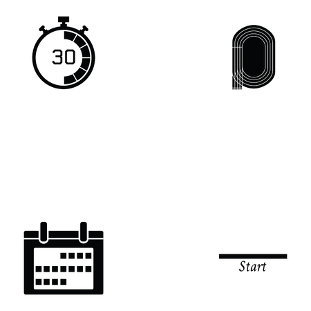 Running icon set with starting line and clock Stock Illustratie