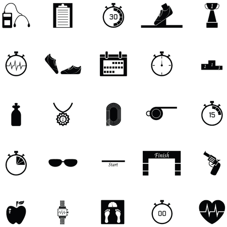 Running icon set with shoes, clipboard and gun