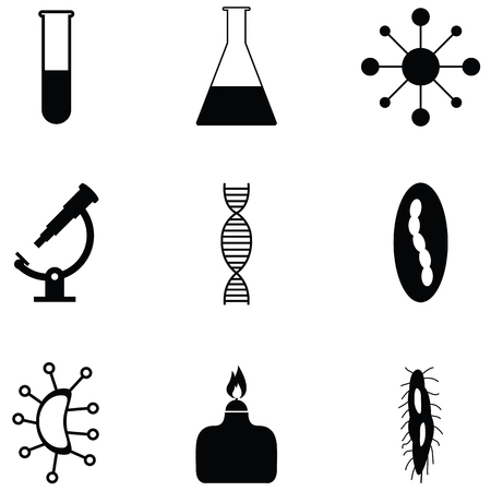 Pathogen icon set with test tube, lighter and DNA