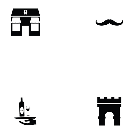french icon set Vectores