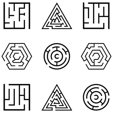 maze icon set